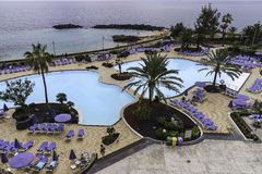 Ocean and swimming pool area Stock Photos