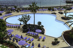 Ocean and swimming pool area Royalty Free Stock Photos