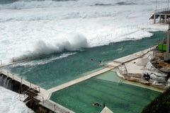 Ocean Swimming Pool. Pacific Ocean salt water swimming pool at South Bondi Beach, Sydney, Australia, during wild storm and high seas Stock Photo