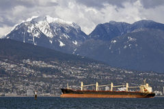 Ocean tanker in Burrard Inlet, Vancouver Royalty Free Stock Photography