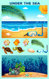 Ocean theme with beach and underwater. Illustration stock illustration