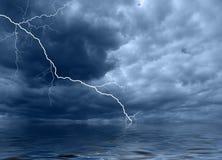 Ocean thunderstorm A. Ocean dark blue landscape with thunderstorm lightning Stock Image
