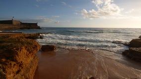 Ocean Tide Shore Landscape Sunset Movement Rocks Cliffs Vacation royalty free stock photography