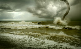 Ocean tornado. Storm (3D used Royalty Free Stock Photography