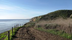 Ocean Trails Panorama. Walking trail, hills, sky and ocean, California Stock Images