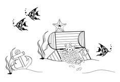 Ocean treasure ,. A illustration of under ocean sea cartoon drawing Royalty Free Stock Photography