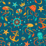 Ocean treasures seamless pattern. Nautical vector seamless pattern with sea animals and gems royalty free illustration