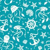 Ocean treasures seamless pattern. Nautical vector seamless pattern with sea animals and gems vector illustration
