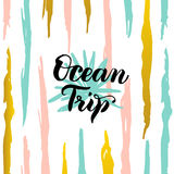 Ocean Trip Card. Vector Illustration of Summer Trendy Postcard with Calligraphy vector illustration