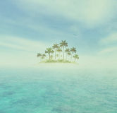 Ocean And Tropical Island With Palms Stock Image