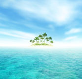 Ocean And Tropical Island With Palms Stock Photos