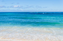 Ocean and tropical sandy beach background. (Hawaii, Kauai stock photo