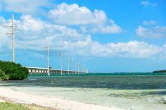 Ocean under bridge with blue skies. Ocean under the bridge with blue skies Stock Photos