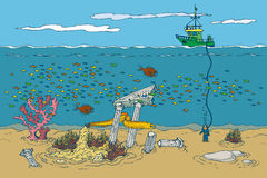 Ocean and Underwater World. Cartoon Color Vector Illusttration Royalty Free Stock Images