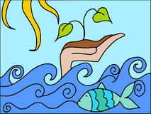 Ocean and vegetation Stock Image