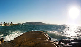 Ocean view. A panoramic  ocean view of Mykonos, Greece Royalty Free Stock Images