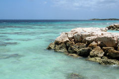 Ocean View. On private island in front of Aruba Stock Photos