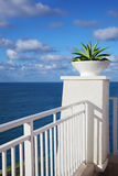 Ocean view. Cliff-top terrace looking out over a tropical ocean royalty free stock photography