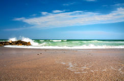 Ocean View. Summer day by the ocean, clear blue sky Stock Photos