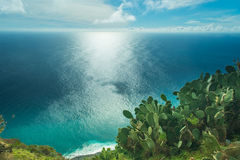 Ocean view. View to the Atlantic ocean from the rocky coast of Ponto do Pargo, Madeira, Portugal stock image