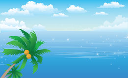 Ocean view. Isolate island palm tree in the ocean stock illustration