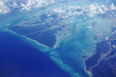 Ocean View from above. Pacific ocean View from an airplane Stock Photos