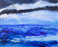 Ocean view acrylic painting royalty free illustration