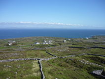 Ocean view. View on the Atlantic ocean and the land with houses and fences made of stone. Inis Mor, Ireland stock images