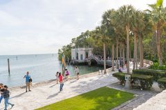 Ocean view from the backyard of Vizcaya Museum in Miami, Florida. January 15, 2018 Royalty Free Stock Photo