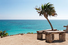 Ocean view bench in Tulum Stock Photo