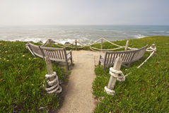 Ocean-view benches at Point Montara State Park, California Royalty Free Stock Images