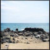 Kihei coast view. Ocean view beyond the sand beach and rocky coastline of Kihei, Maui, Hawaii Stock Photos