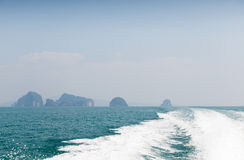 Ocean view from board of sailing boat or yacht Stock Images