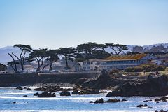 Ocean View Boulevard. Pacific Grove, California - USA; February 20, 2018; Located between Monterey and Pebble Beach, visitors and residents to Pacific Grove Stock Photo