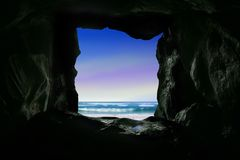 Ocean view from cave hole Royalty Free Stock Photo