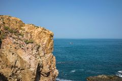 Ocean view at The Cliff of Stone Plates Da Dia or Ghenh Da Dia in Central Vietnam.  Royalty Free Stock Photos