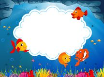 The ocean view with the cloud board blank space and some little sea fish swimming