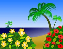 Ocean view with Flowers. Yellow and red flowers in the foreground and a view of the ocean Royalty Free Stock Photos