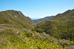 Ocean view and geology, Malibu, CA. Panoramic view of meadows, hills and sky in Malibu Creek State Park, California Stock Photo