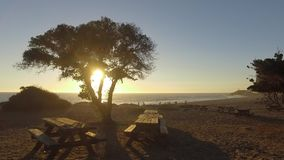 Ocean view and geology, Malibu, CA. Panoramic view of meadows, hills and sky in Malibu Creek State Park, California stock footage