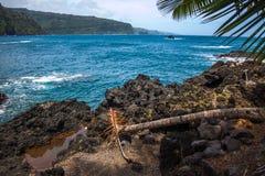 Ocean view in Hana town. Hana town ocean view in Maui, Hawaii Royalty Free Stock Photo