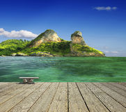 Ocean view with island Stock Photo