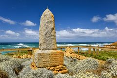 Ocean view with the James Irvine Monument, part of the Peterborough Coastal Reserve. PETERBOROUGH, AUSTRALIA - January 03, 2018: Ocean view with the James Irvine Royalty Free Stock Photos