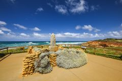 Ocean view with the James Irvine Monument, part of the Peterborough Coastal Reserve. PETERBOROUGH, AUSTRALIA - January 03, 2018: Ocean view with the James Irvine Royalty Free Stock Photography