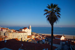Ocean view through Lisbon. View of the Lisbon city and ocean in Portugal royalty free stock photo