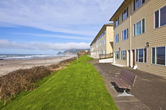 Ocean view lodgings Lincoln City Oregon. Bench with the ocean view on the Oregon coast Royalty Free Stock Images