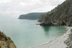 Ocean view. Nature background with nobody. Morgat, Crozon peninsula, Brittany, France.  stock photos