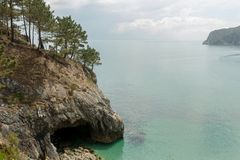 Ocean view. Nature background with nobody. Morgat, Crozon peninsula, Brittany, France.  stock photo