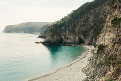 Ocean view. Nature background with nobody. Morgat, Crozon peninsula, Brittany, France.  royalty free stock image
