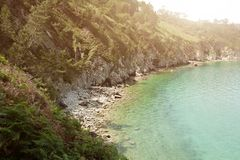 Ocean view. Nature background with nobody. Morgat, Crozon peninsula, Brittany, France.  stock images